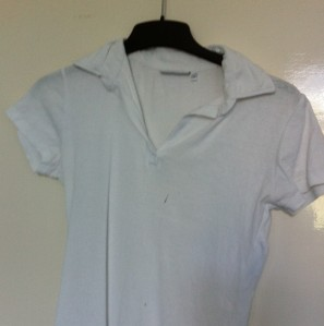 Shirt with marker stain